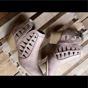 NOW INSTOCK  Taupe cut out oil brush bootie