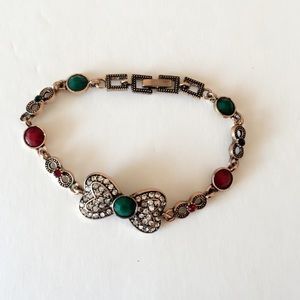 Jewelry - #A77 Antique Style Red & Green Bow Bracelet