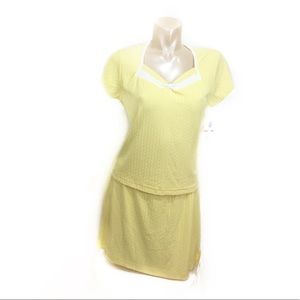 Wimbledon Dresses & Skirts - Wimbledon yellow cable tennis skort/top set