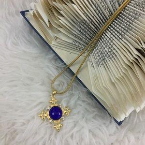 VINTAGE Gold Blue Maltese Cross Long Boho Necklace