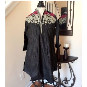 Tops - Black, Gold Neck Embroidered Blouse or Tunic Top