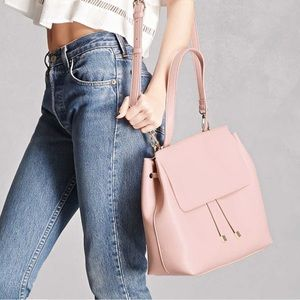 Blush Pink Faux Leather Large Satchel