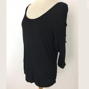 Rhapsody Tops - Rhapsody caged cold shoulder top