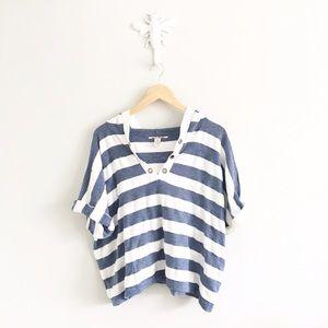Lucky Brand Sweaters - Lucky Brand Short Sleeve Striped Hooded Sweatshirt