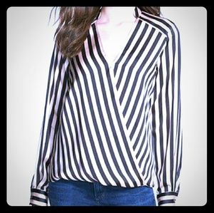 Arden B Tops - Arden B Black and White faux wrap blouse