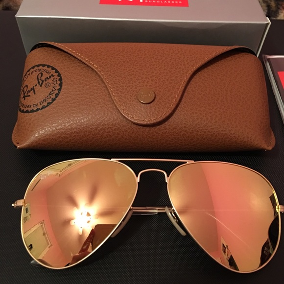 41 off ray ban accessories brand new rose gold ray ban aviators from eileen 39 s closet on. Black Bedroom Furniture Sets. Home Design Ideas