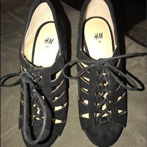 Black H&M Lace Up Heels