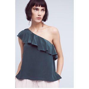 Anthropologie Silk One-Shoulder Top