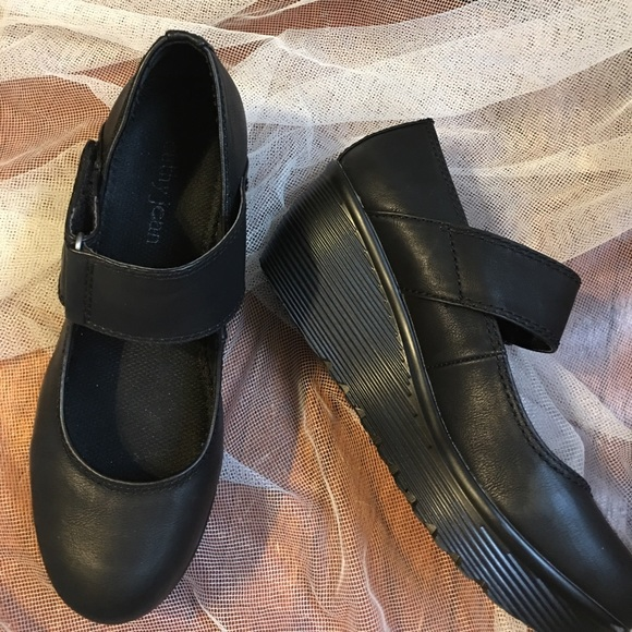cathy jean cathy black wedge shoes size