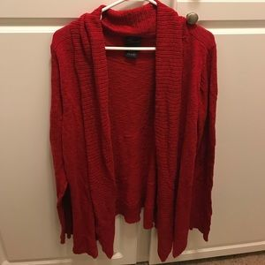 Red open front cardigan