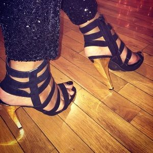 Missguided Black Strappy  Gold Heeled Sandal