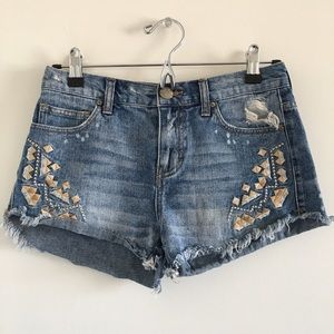 Free People Pants - Free People Embroidered & Distressed Cutoffs