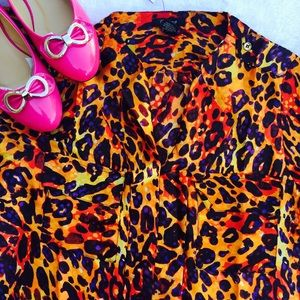 Tops - Animal print satin blouse
