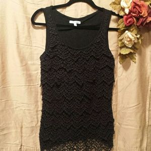 Lapis Tops - NWOT Lapis crocheted tiered front tank top
