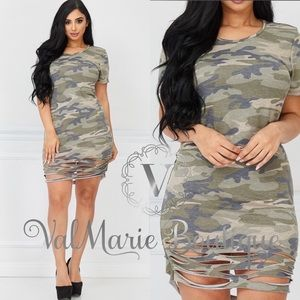 Sexy Destroyed Camouflage Army Dress Tunic Top