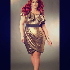 Monif C gold party dress 2x