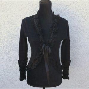 Hazel Sweaters - Hazel Romantic Ruffle Boho Cardigan Sweater M