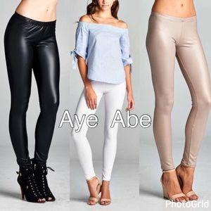 Pants - Black khaki or white faux leather leather sexy new