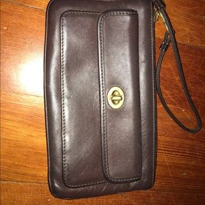Vintage Brown Leather Coach Wristlet