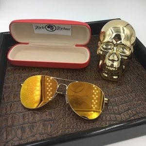 Other - Gold frames with gold mirror aviator & hard case