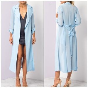Jackets & Blazers - 🆕BabyBlue Lightweight Belted Chiffon DusterTrench