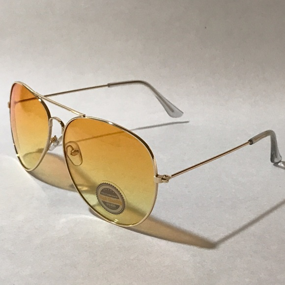 Gold Color Frame Sunglasses : Colored Lens Gold Frame Aviator Sunglasses OS from Michael ...