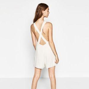 White Zara Open Back Romper