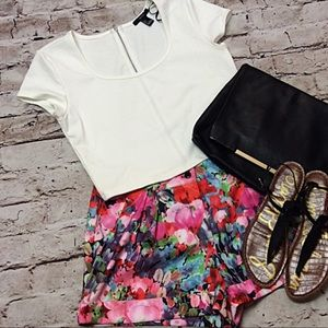 FOREVER 21 WHITE KNIT CROP TOP