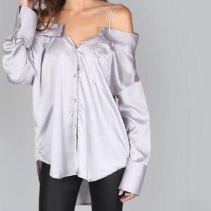 Tops - Off shoulder button up blouse