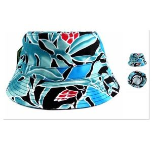 Turquoise Blue Leaf Bucket Hat