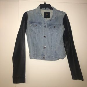 Jackets & Blazers - Jean jacket with leather sleeves