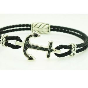 David Yurman SS Pave Black Diamond Anchor Bracelet