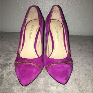 Enzo Angiolini Shoes - Enzo Angiolini zipper Purple suede Leather heels