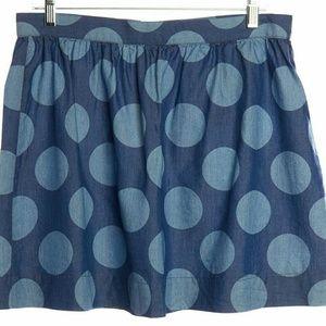 3x1 Dresses & Skirts - 3X1 NYC chambray polka dot mini skirt blue
