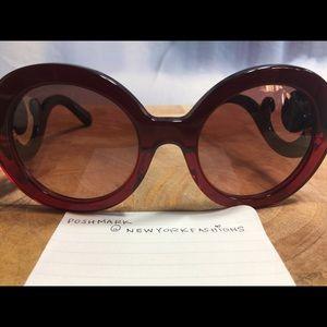 Prada Accessories - Oversized Burgundy Prada Sunglasses