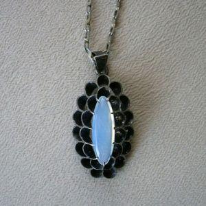 Vintage Jewelry - Vintage 1920s-30's Sterling Opaline Glass Necklace