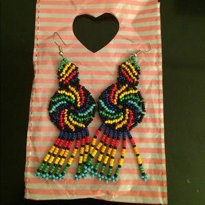 Dangle rainbow beaded earrings Made in Mexico NWOT