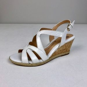 Brand New Sofft White Leather Wedge Sandals