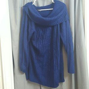Blue wide neck sweater