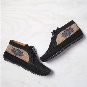 Black Native Ankle Bootie Moccasins