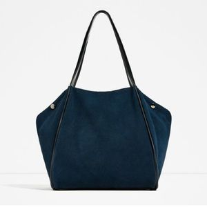Zara navy blue leather tote