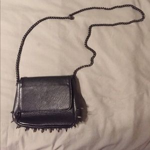 Deena & Ozzy Handbags - Black studded spike faux leather purse