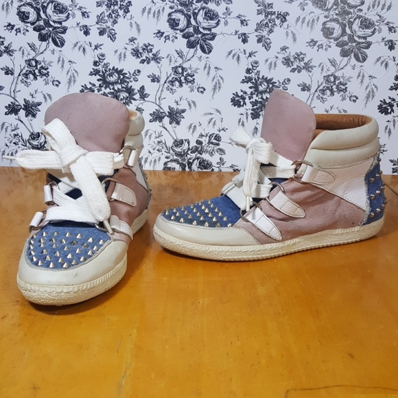 Leather Sandro And High Jean Top Studded Sneakers 76ybfIgvmY