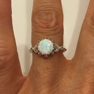 Jewelry - Sterling Silver White Lab Opal Ring with CZ