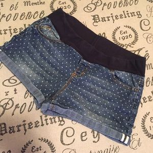 Planet Motherhood Pants - Maternity polkadot Jean shorts size large