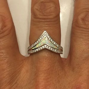 Jewelry - Sterling Silver White Lab Opal V Shape Ring