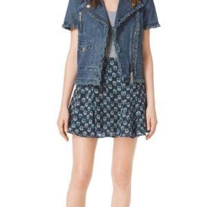 Michael Kors Denim Flounced Skirt Size 10 NWT $89