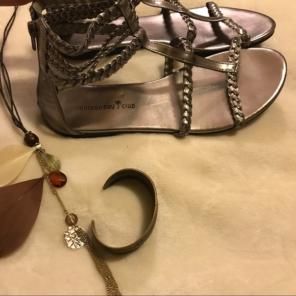 63 Off Shoes Gladiator Sandals Zip Back Metallic Silver