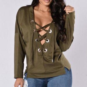 Fashion Nova Sweaters - Criss Cross Lace Up Olive Sweater