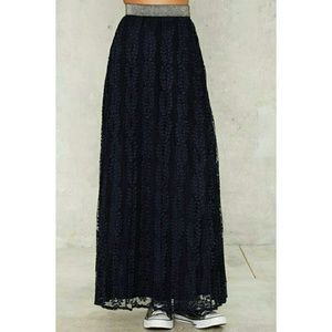 Lucy Paris Skirts - Lucy Paris Navy Blue Lace Pleated Maxi Skirt